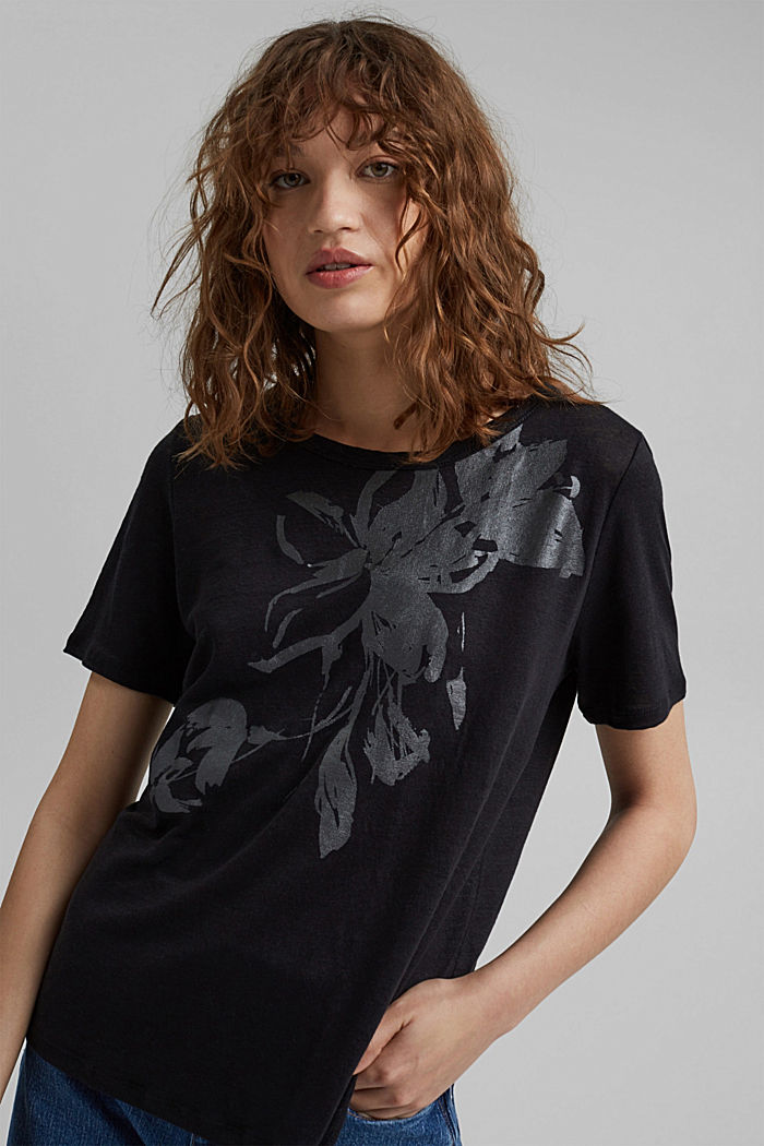 Made of linen: printed T-shirt, BLACK, detail image number 5
