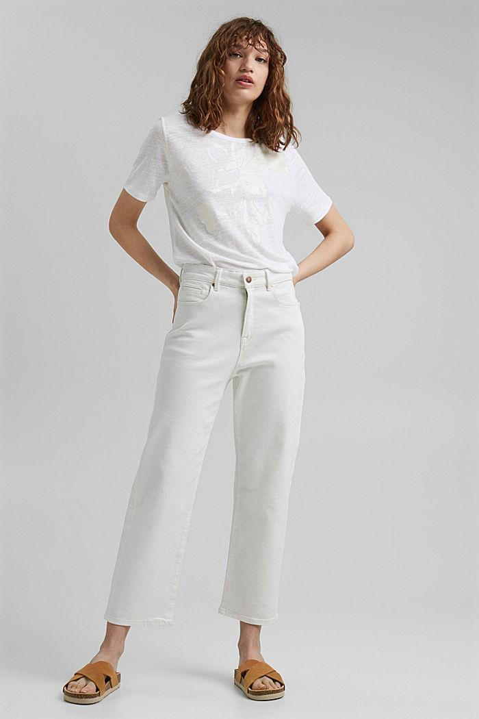 Aus Leinen: T-Shirt mit Print, WHITE, detail image number 1