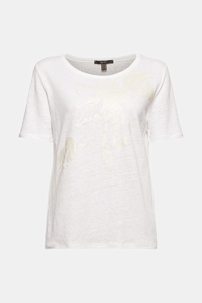 Aus Leinen: T-Shirt mit Print, WHITE, detail image number 5
