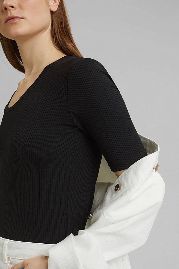 Aus TENCEL™-Mix: softes Ripp-Shirt, BLACK, detail image number 2