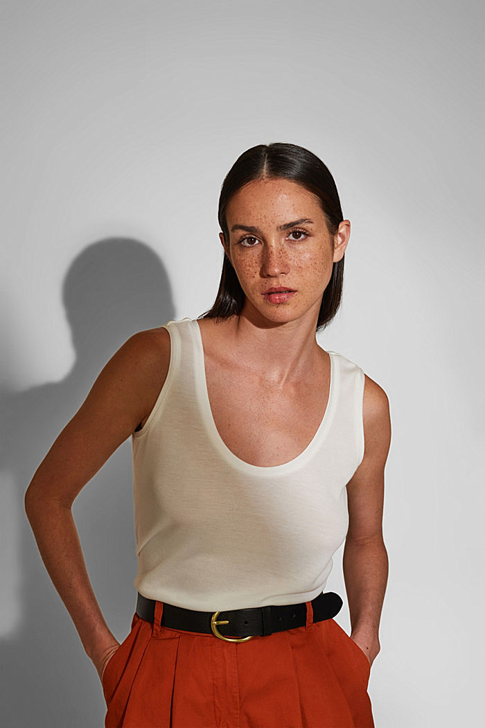 Knitted top made of TENCEL™ lyocell, WHITE, detail image number 0