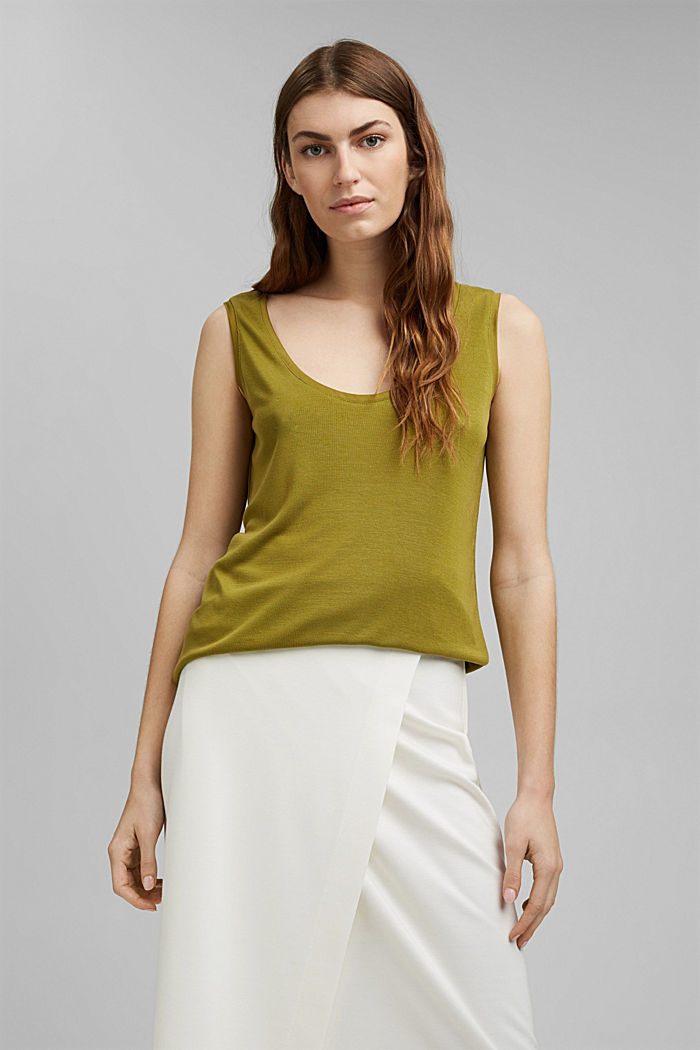Knitted top made of TENCEL™ lyocell, OLIVE, detail image number 0