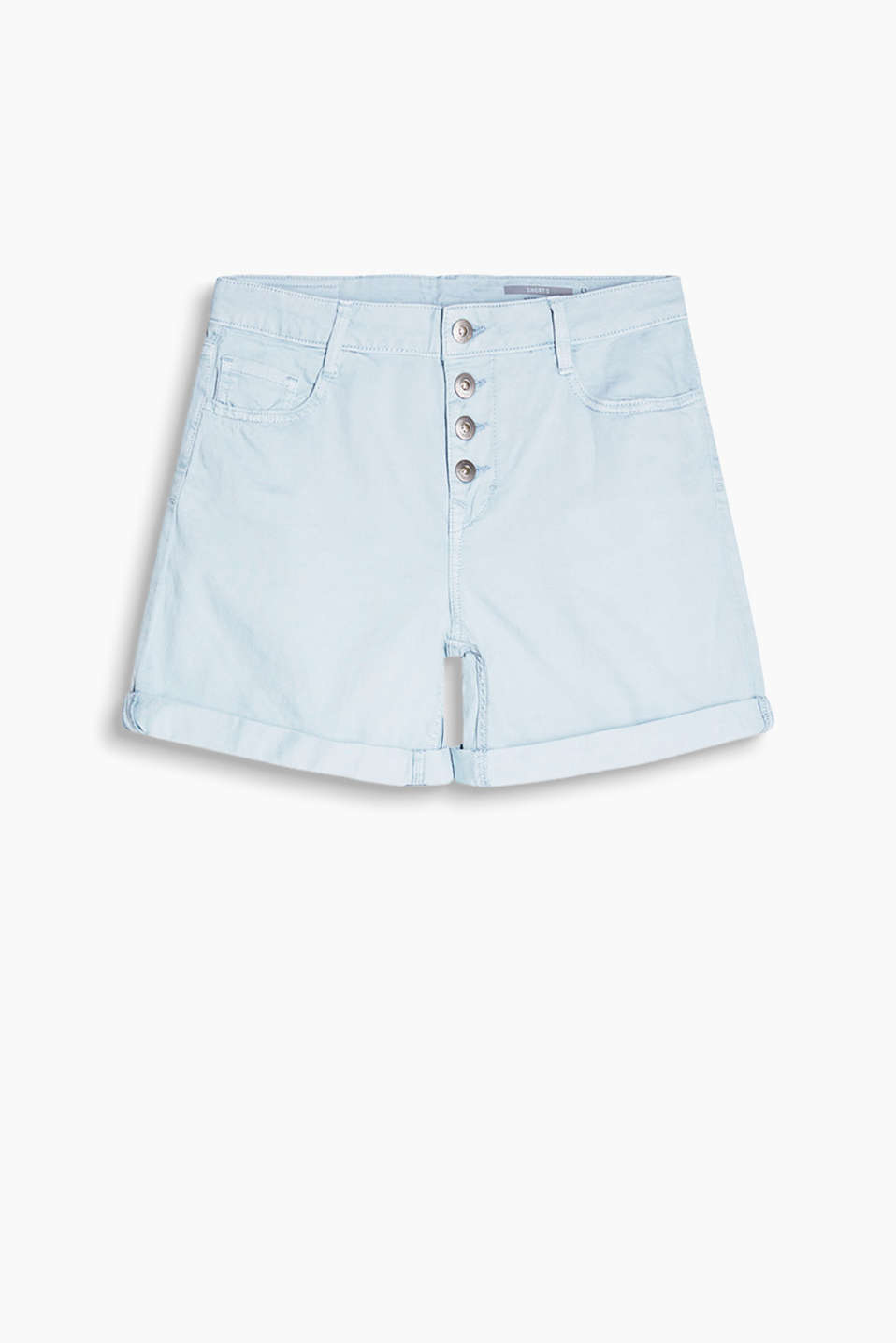 Casual dyed denim shorts with a visible button placket and classic five-pocket design
