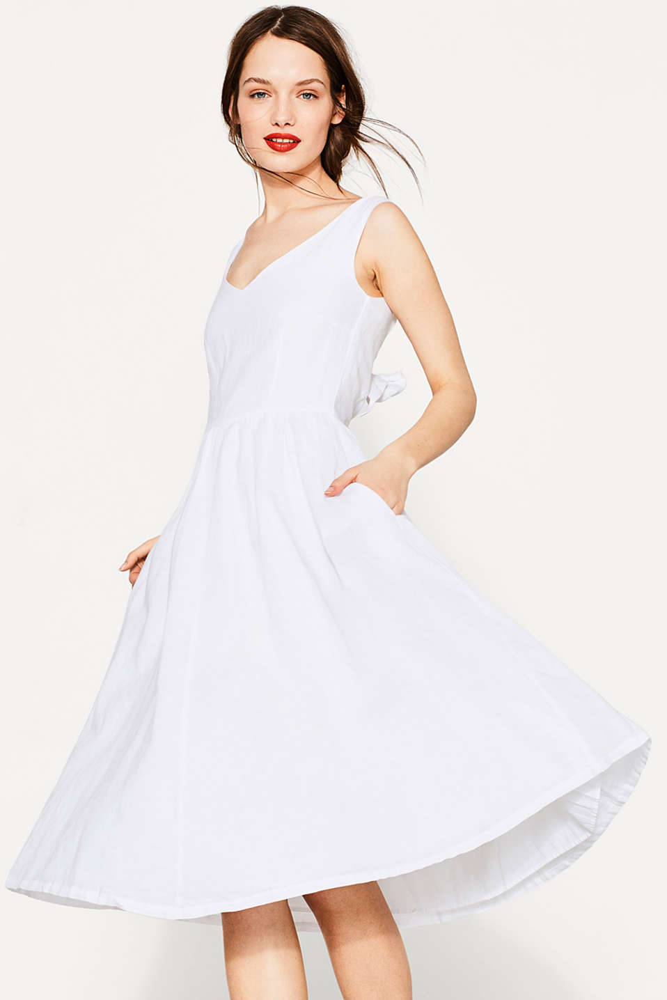 Dress in blended linen/cotton