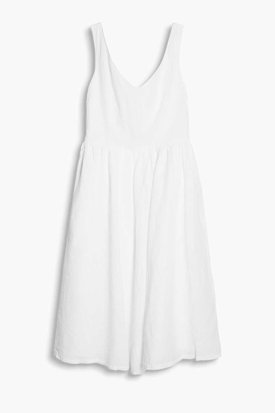 We love it! Flared dress in airy blended linen with a bow on the back