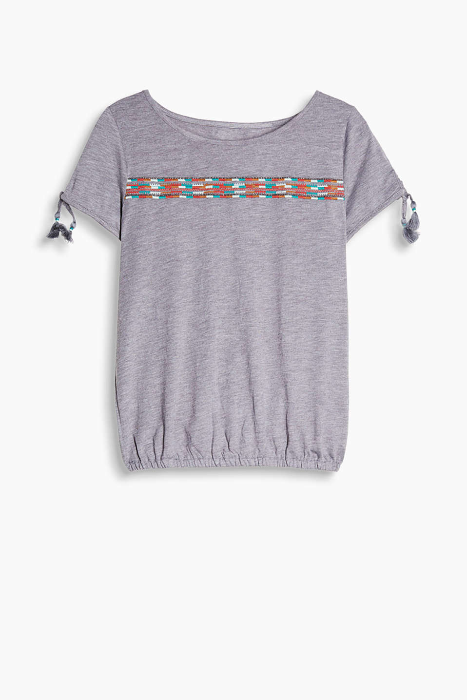 Fabric blend T-shirt with tribal embroidery, tassel ties on the sleeve ends and an elasticated hem