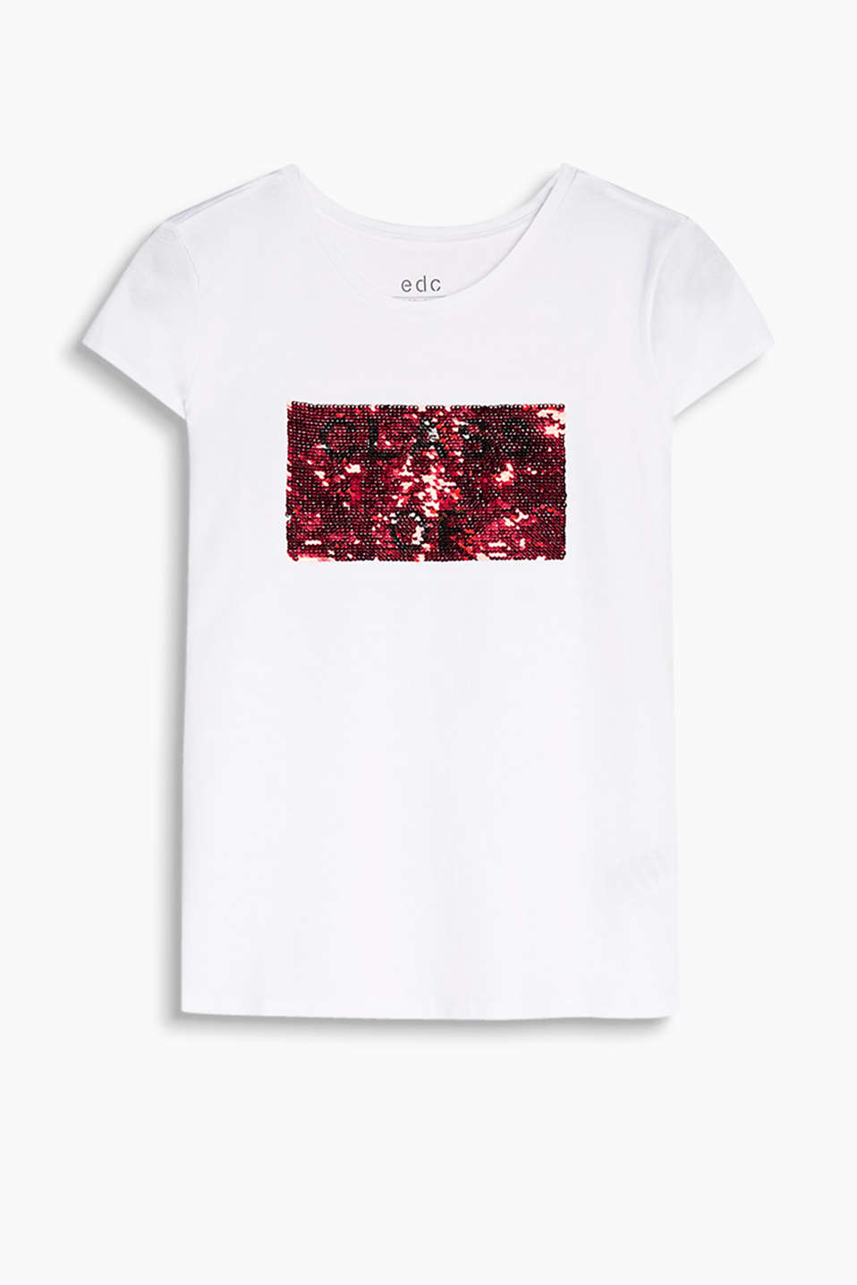 T-shirt in soft cotton jersey with a reversible sequin motif