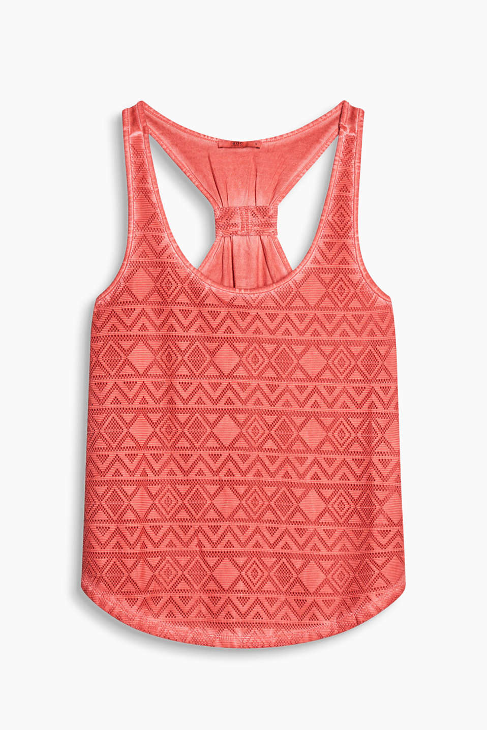 Jersey top with airy openwork pattern and a racer back in an innovative colourway