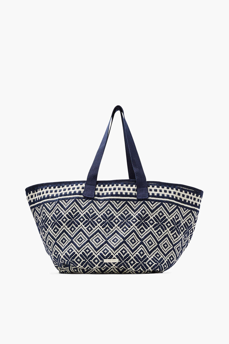 Ethnic-look shopper made of blended cotton/jute