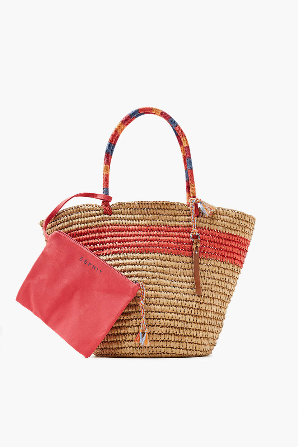 Shopper in a summery look with an attached zip bag