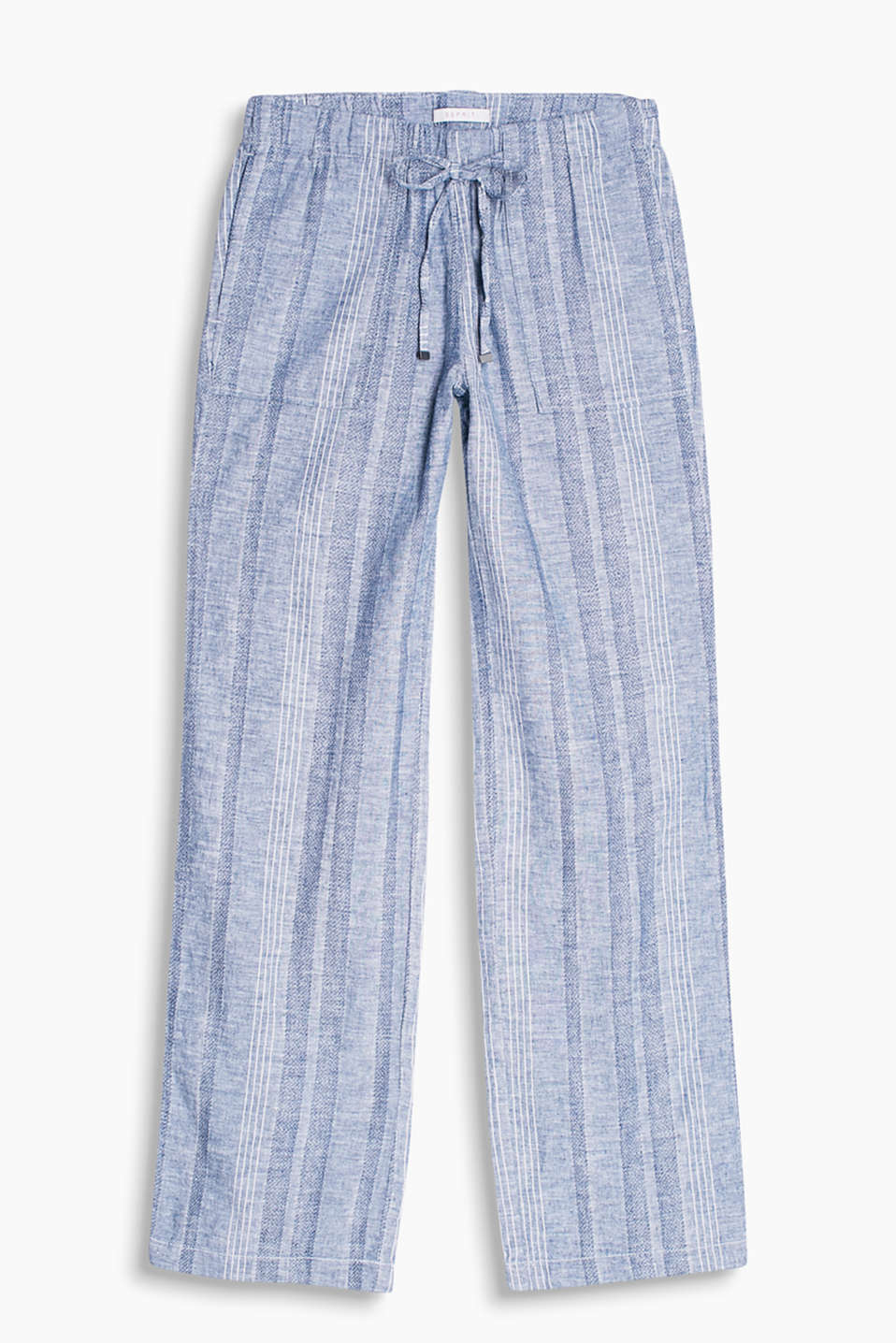 Airy trousers in a cool linen blend with tantalising textured stripes