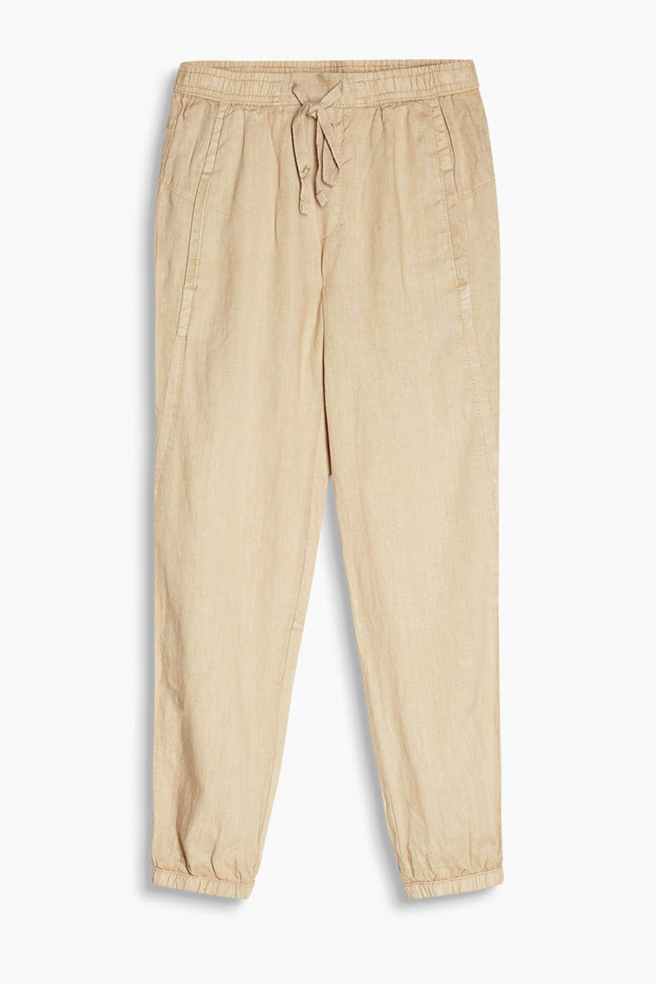 Casual cuffed trousers with elasticated cuffs in 100% linen