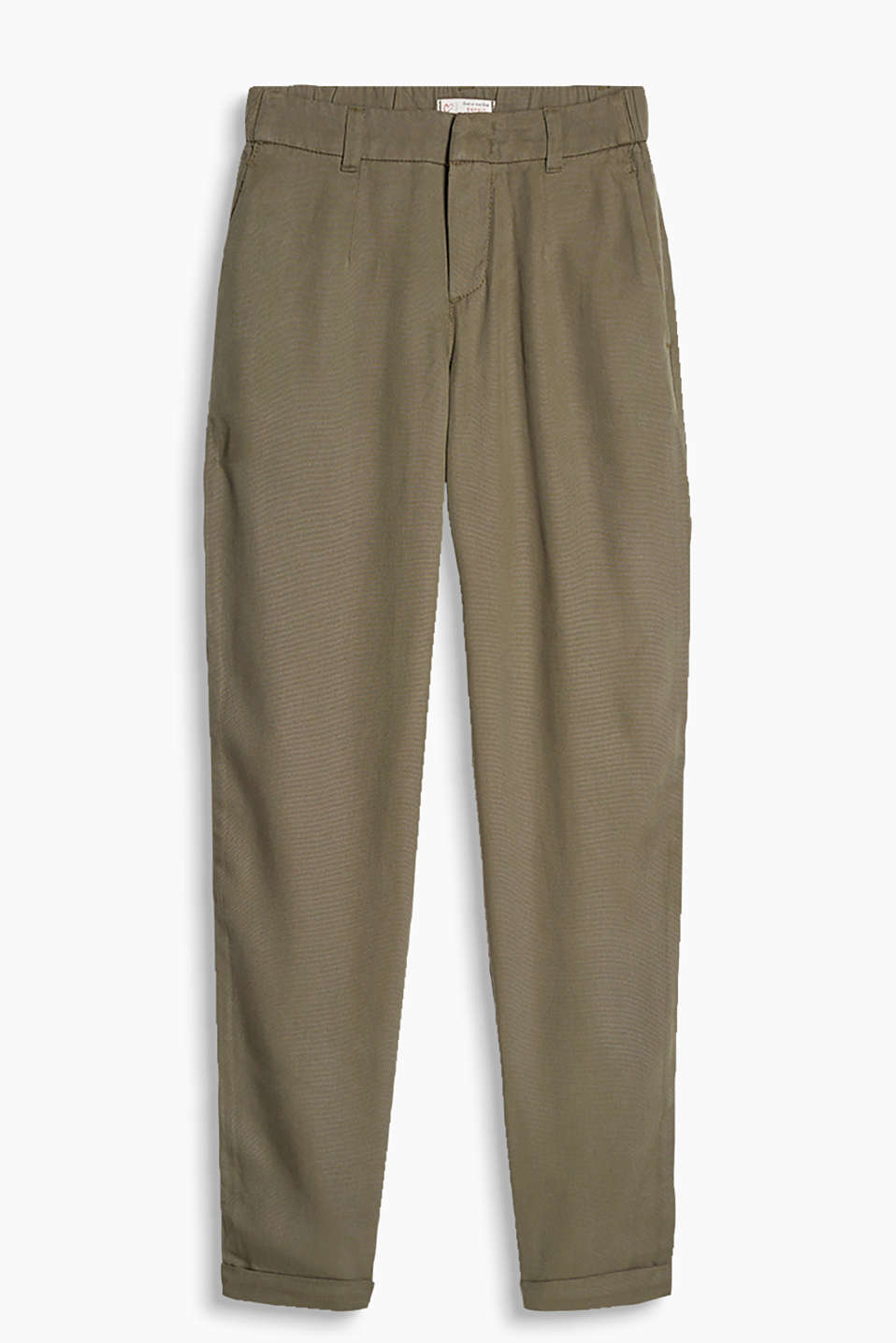 Flowing chinos with a fine texture and a comfortable elasticated waistband