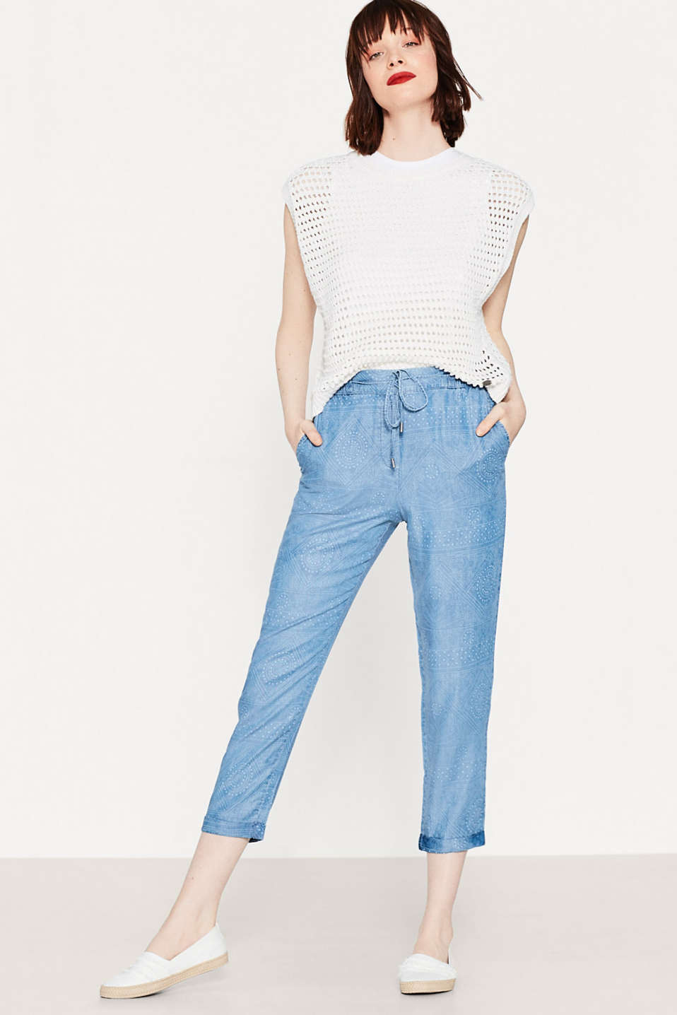 Esprit - Flowing trousers with elasticated waistband