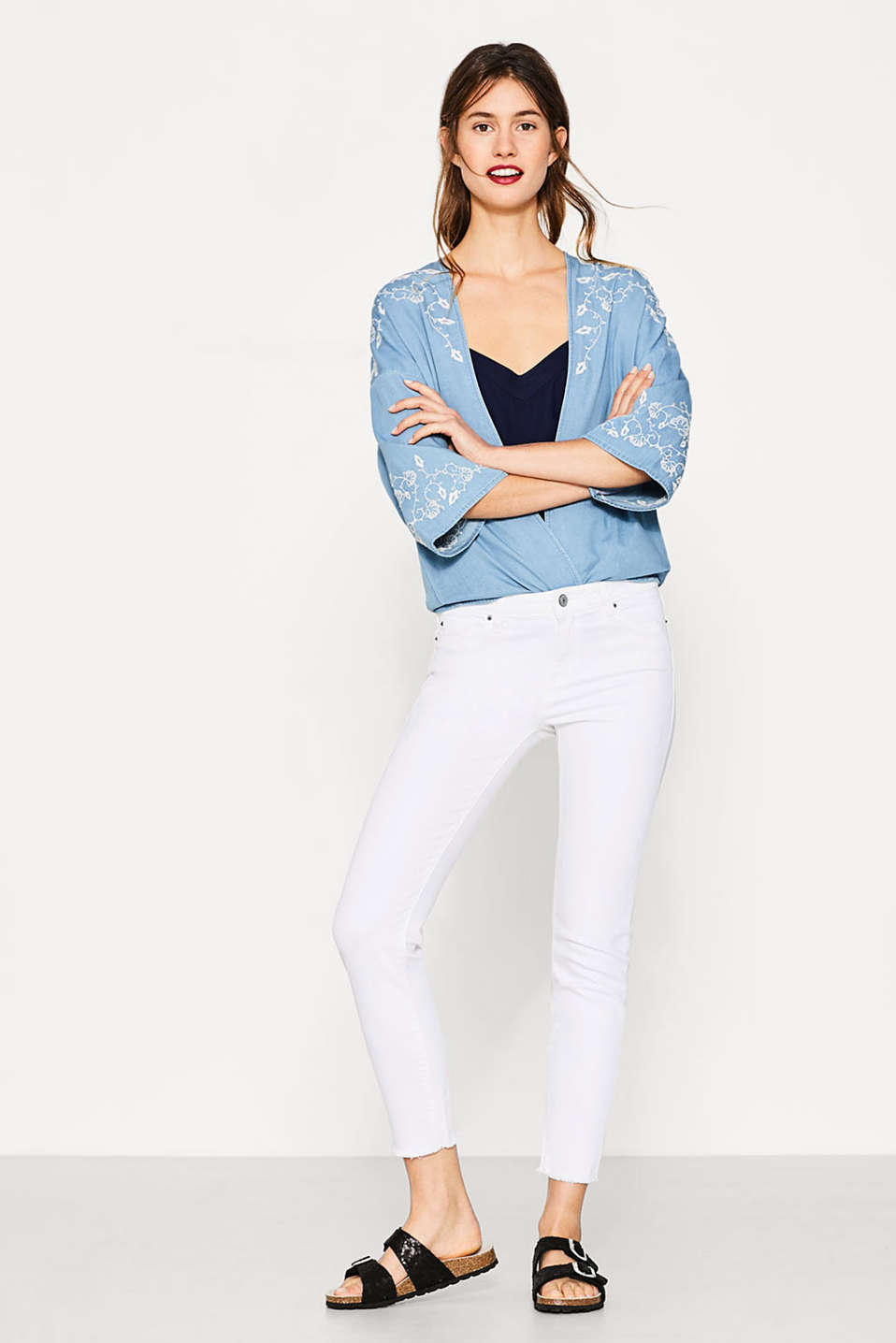 Esprit - White stretch jeans with vintage effects