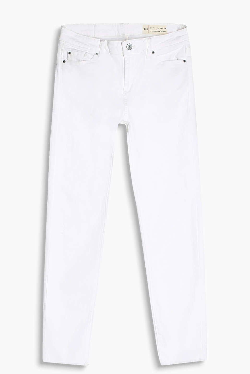 White stretch jeans with vintage effects and frayed hems
