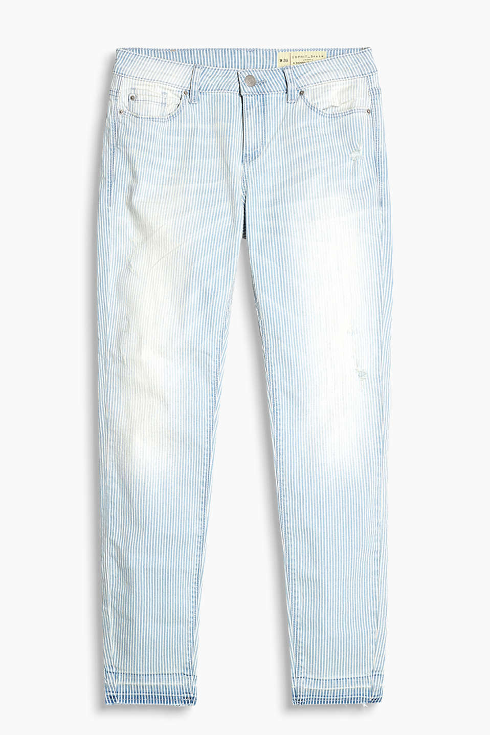 Striped stretch jeans with vintage effects and frayed hems