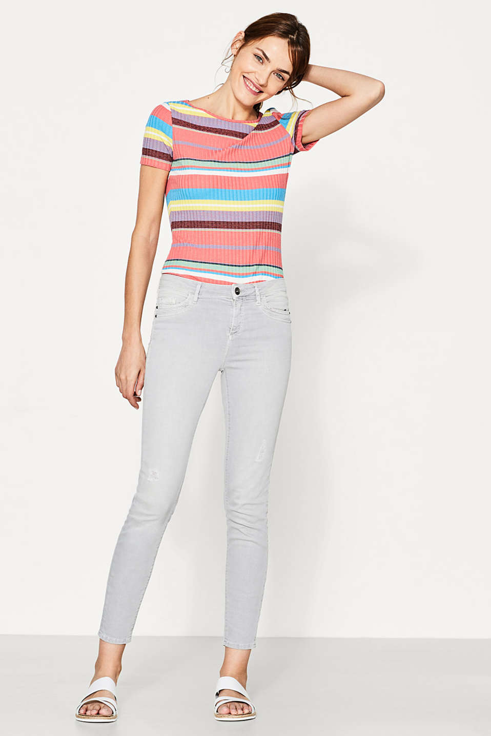Esprit - Coloured stretch jeans with vintage effects