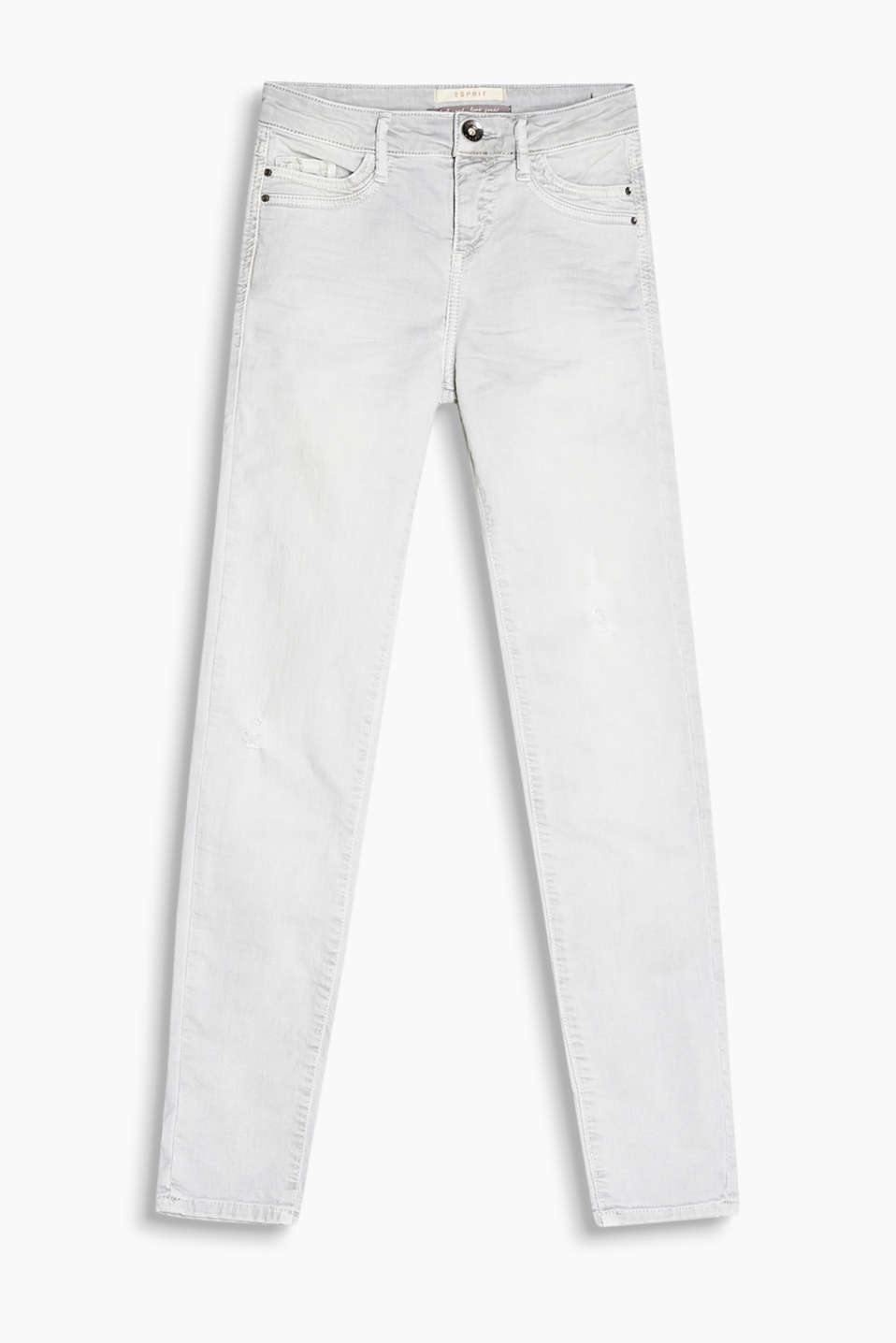 Coloured stretch jeans with vintage effects