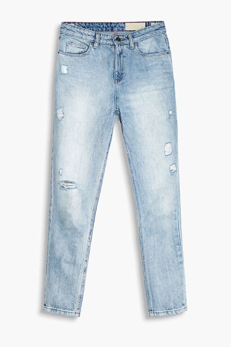 Retro Collection: Stumpede jeans i økologisk bomuld med destroyed-effekter og kulørt, broderet logo