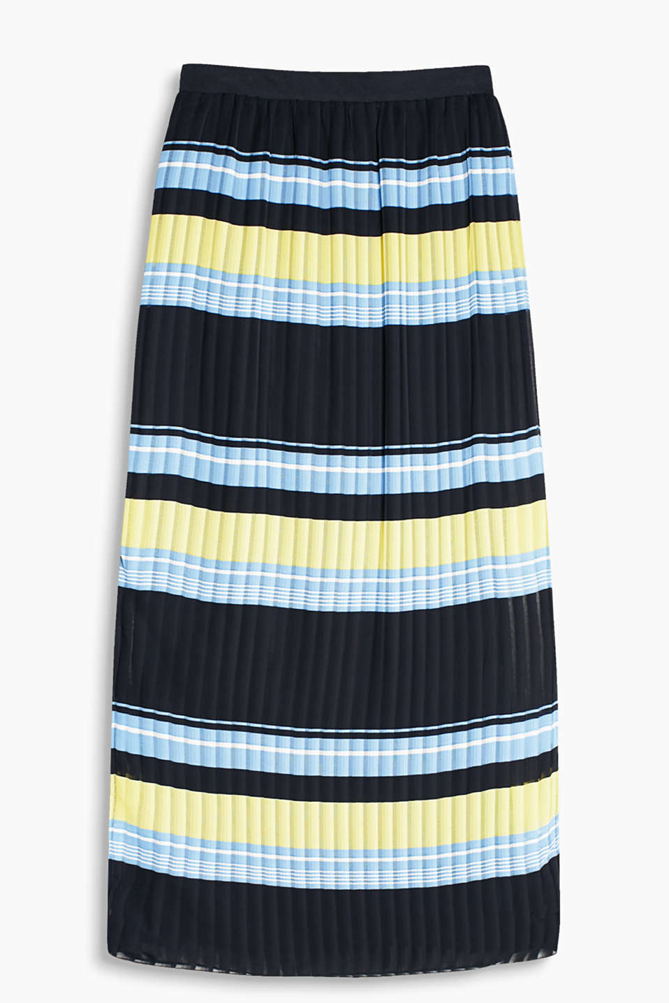Maxi skirt made of comfortable blended cotton with an elasticated waistband and high hem slits, in a trendy striped look