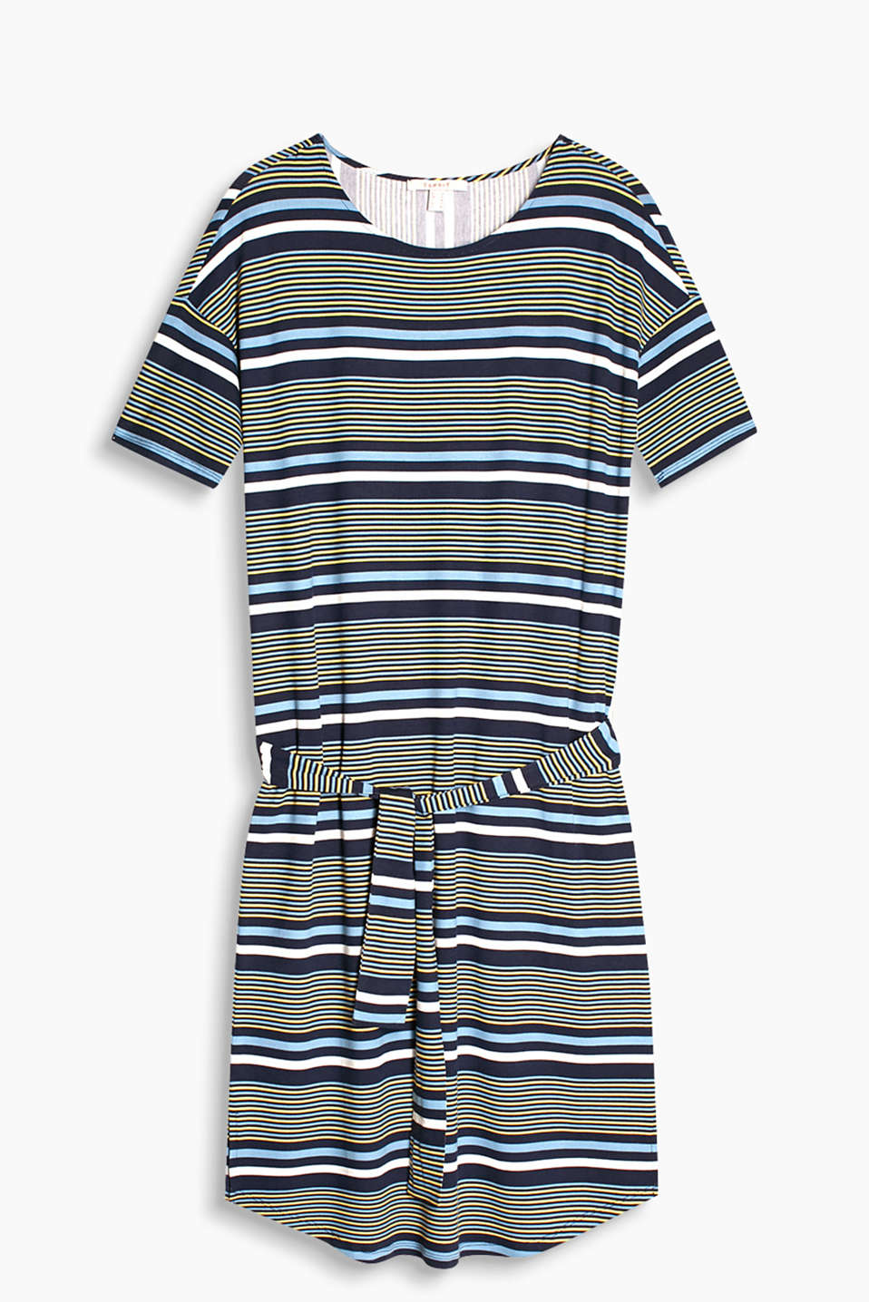 Floaty, stretch jersey dress with a stripe pattern and tie-around belt