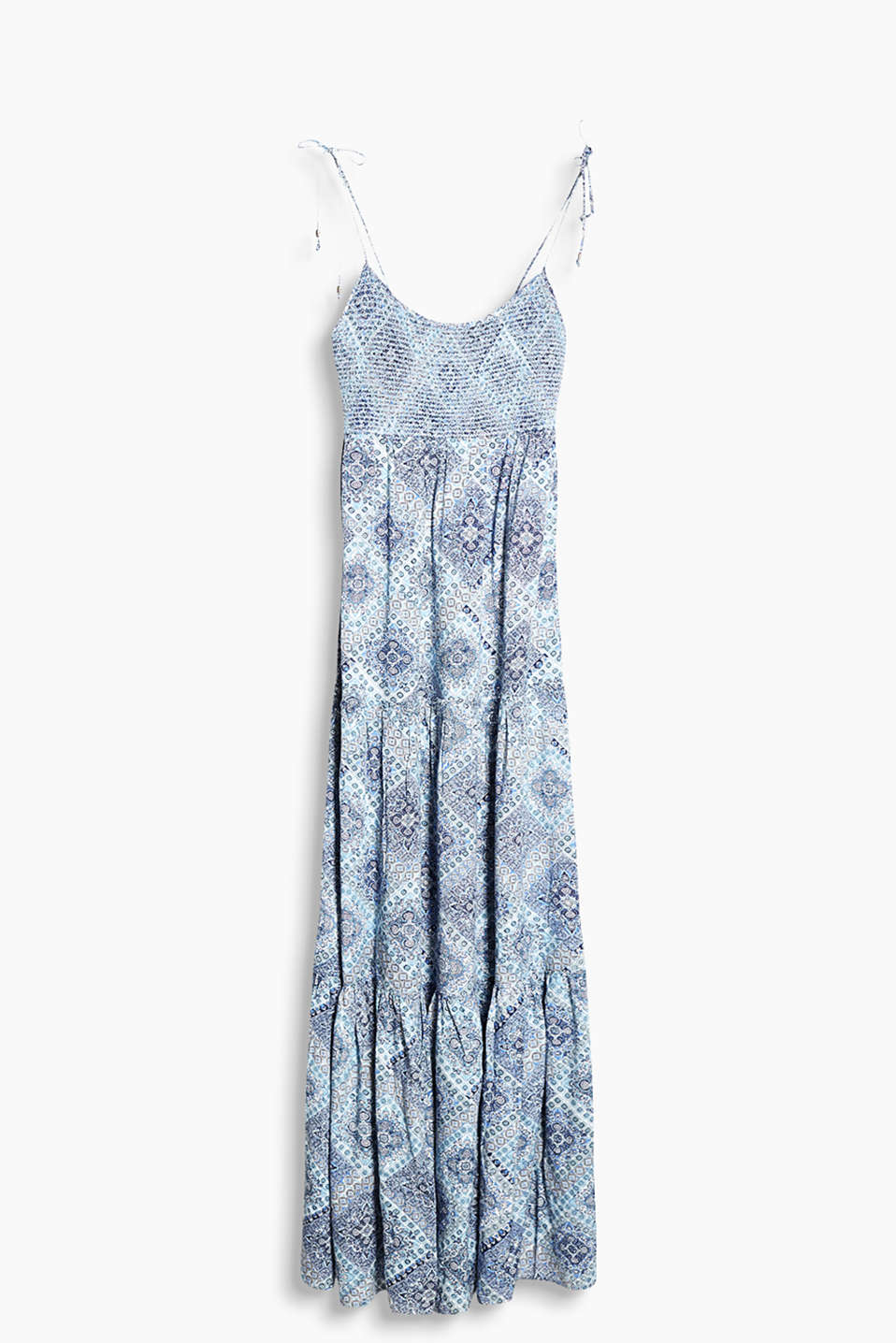 Flowing maxi dress with an ornamental pattern and a smocked bodice