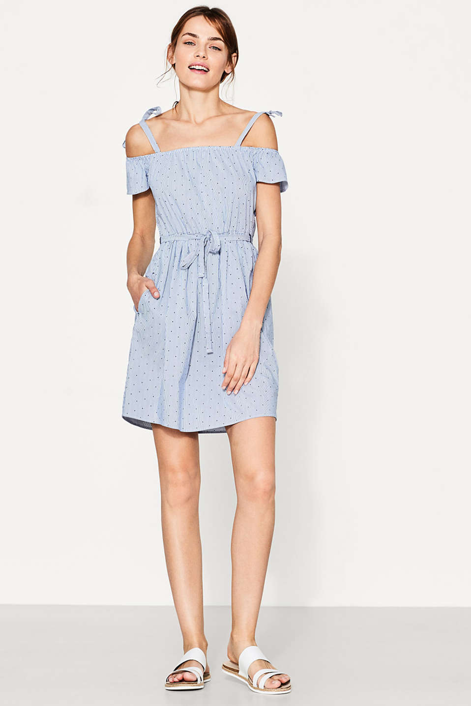 Esprit - Offshoulder-Kleid im Muster-Mix