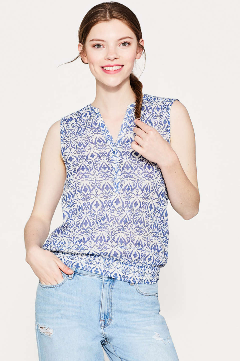 Esprit - Luftiges Blusen-Top mit Ornament-Print