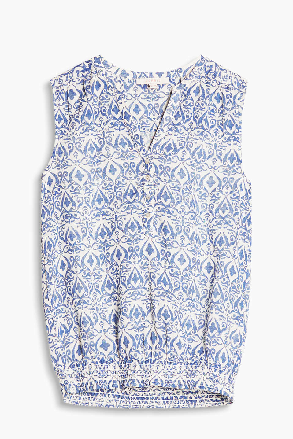Luftiges Blusen-Top im Henley-Stil mit Ornament-Print, Baumwoll-Mix