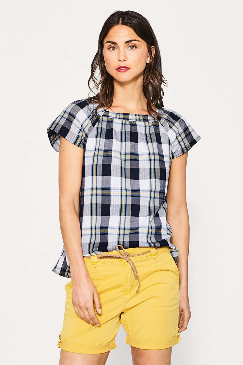 Airy check blouse in 100% cotton