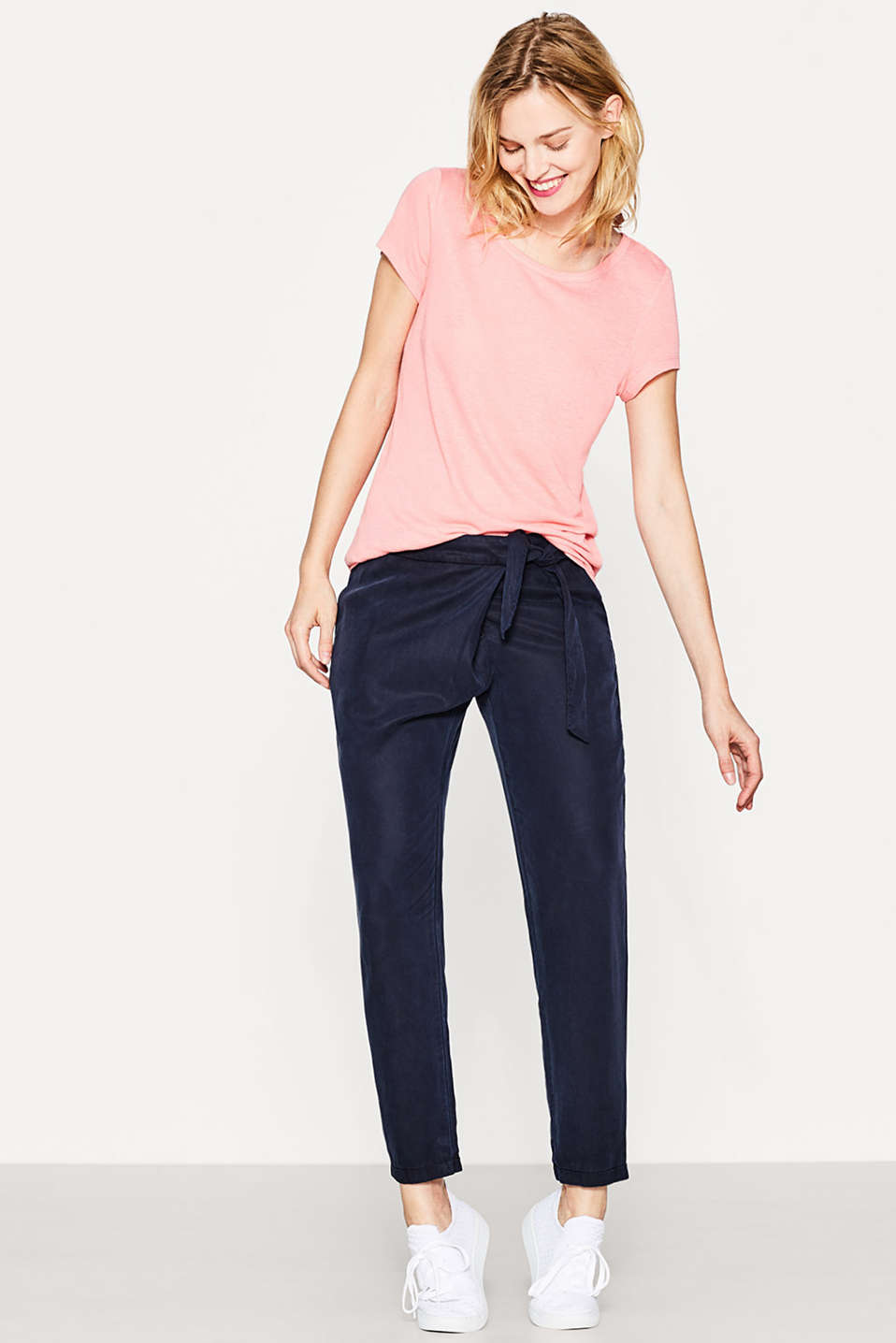 Flowing linen blend top with button placket