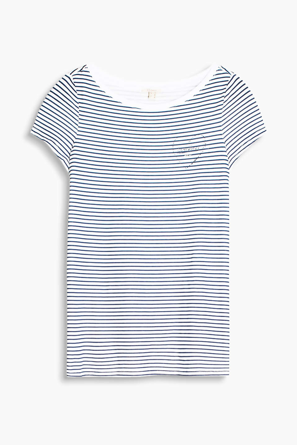 Fitted striped T-shirt with a Carmen neckline and a heart print