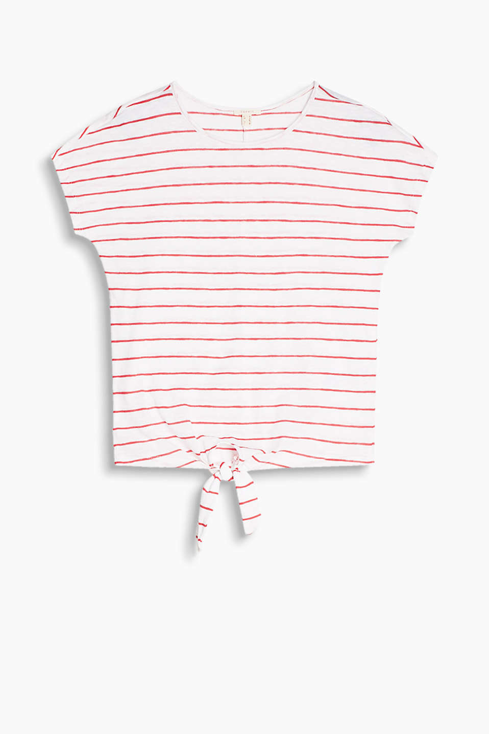 Flowing T-shirt in 100% cotton with a knotted detail at the side on the front of the hem in a trendy striped look