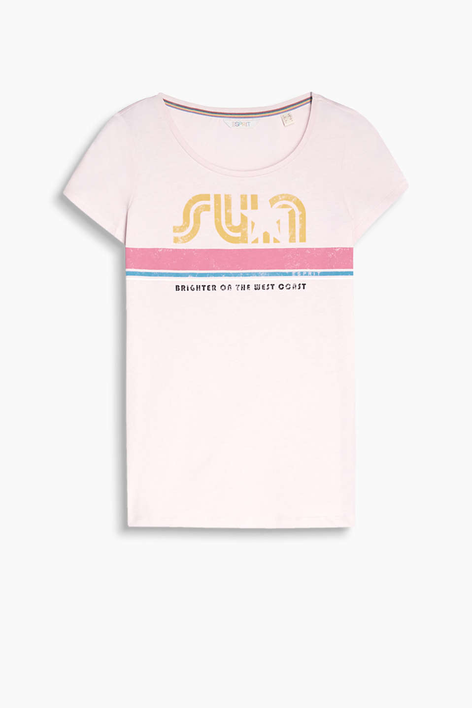 Retro Collection: T-shirt with a sun statement, block stripes and logo print on the back, organic cotton