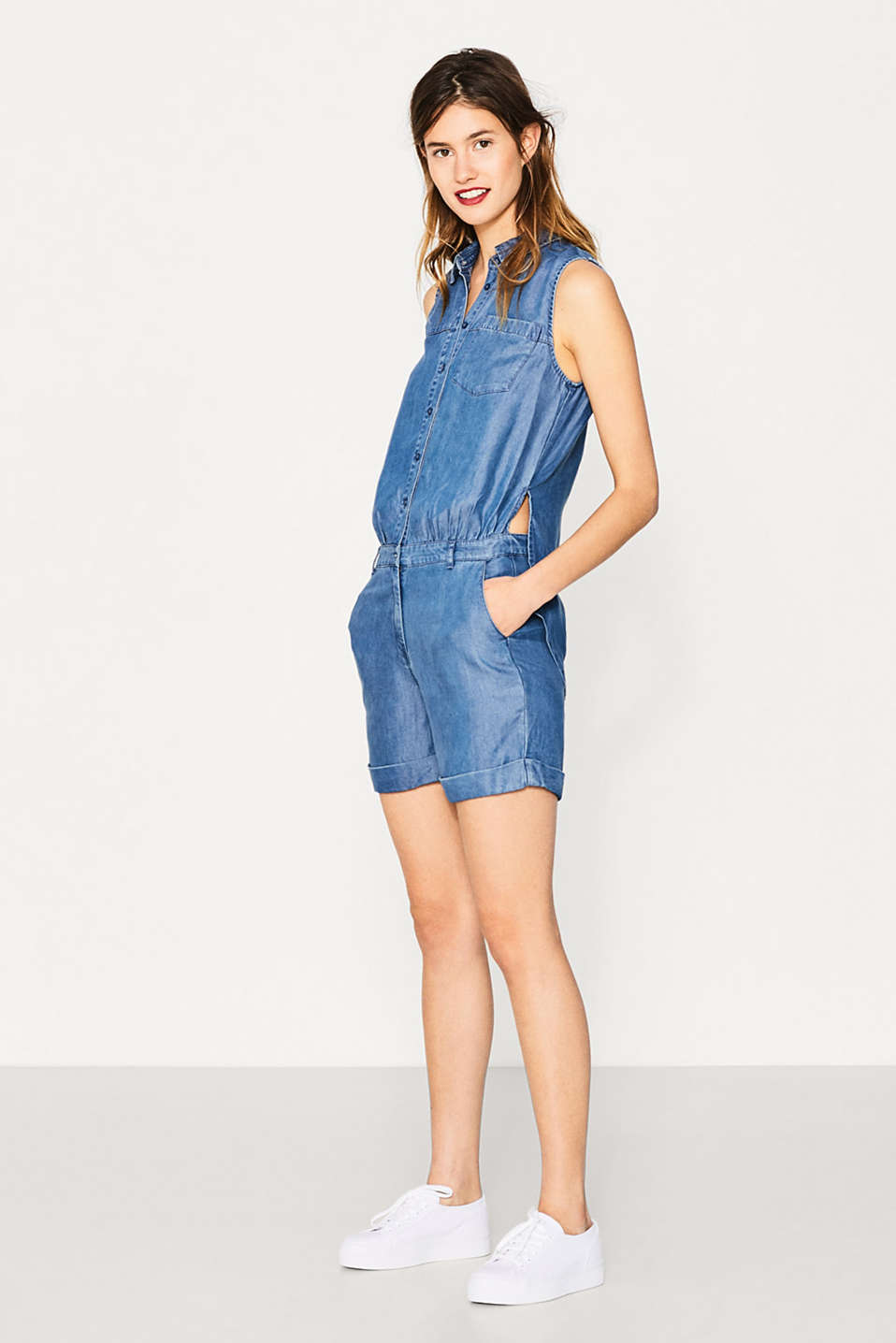 Esprit - Flowing denim-look jumpsuit
