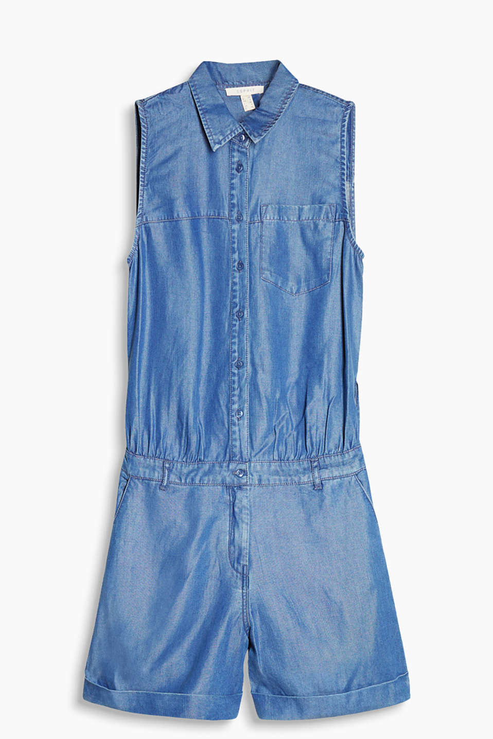 Flowing denim-look jumpsuit with a divided back section