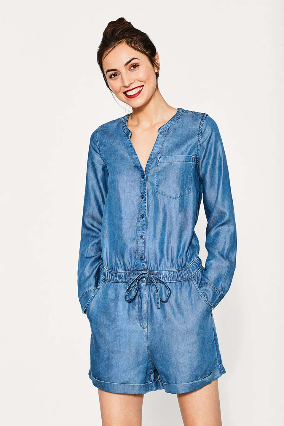 Flowing denim-look jumpsuit