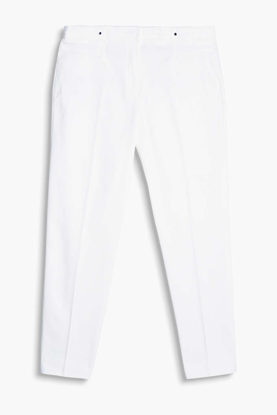 Piqué trousers with pressed pleats, an elaborate waistband design and mock pockets, stretch cotton