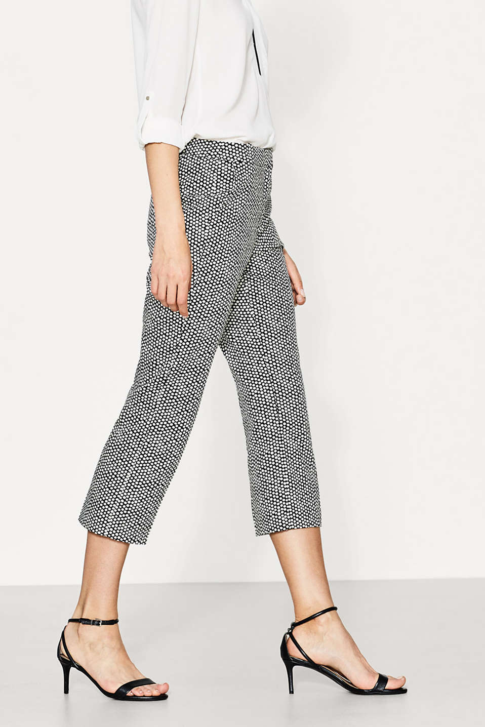 Kick flare printed stretch trousers