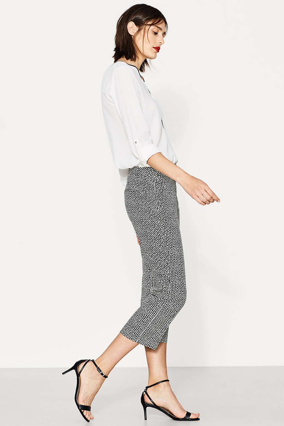 Esprit - Kick flare printed stretch trousers