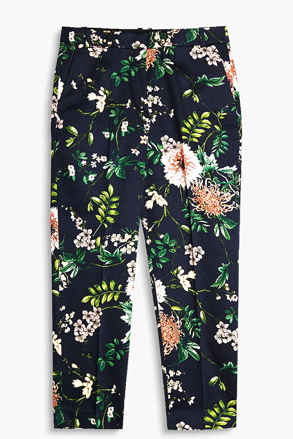 Cropped cotton trousers in a piqué look with a large floral print