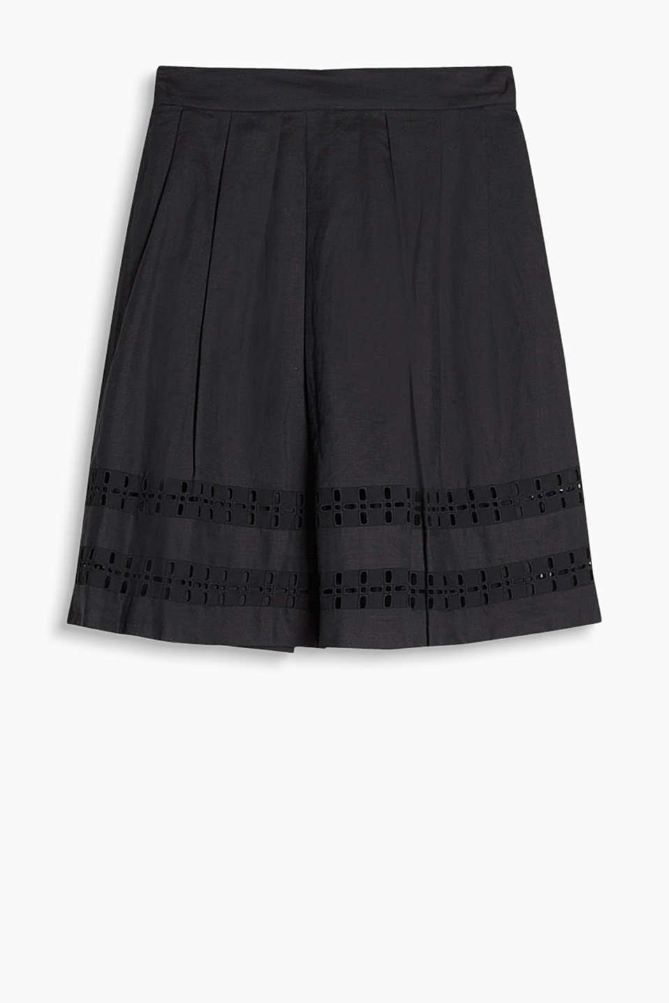 Flared, linen blend skirt with graphic hem embroidery