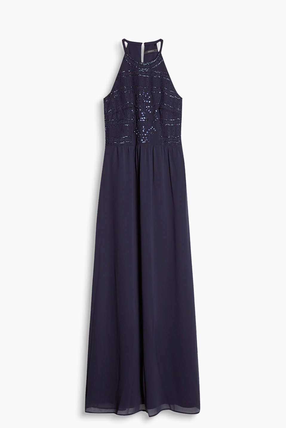Chiffon maxi dress with an elaborately decorated top section featuring embroidery and sequins
