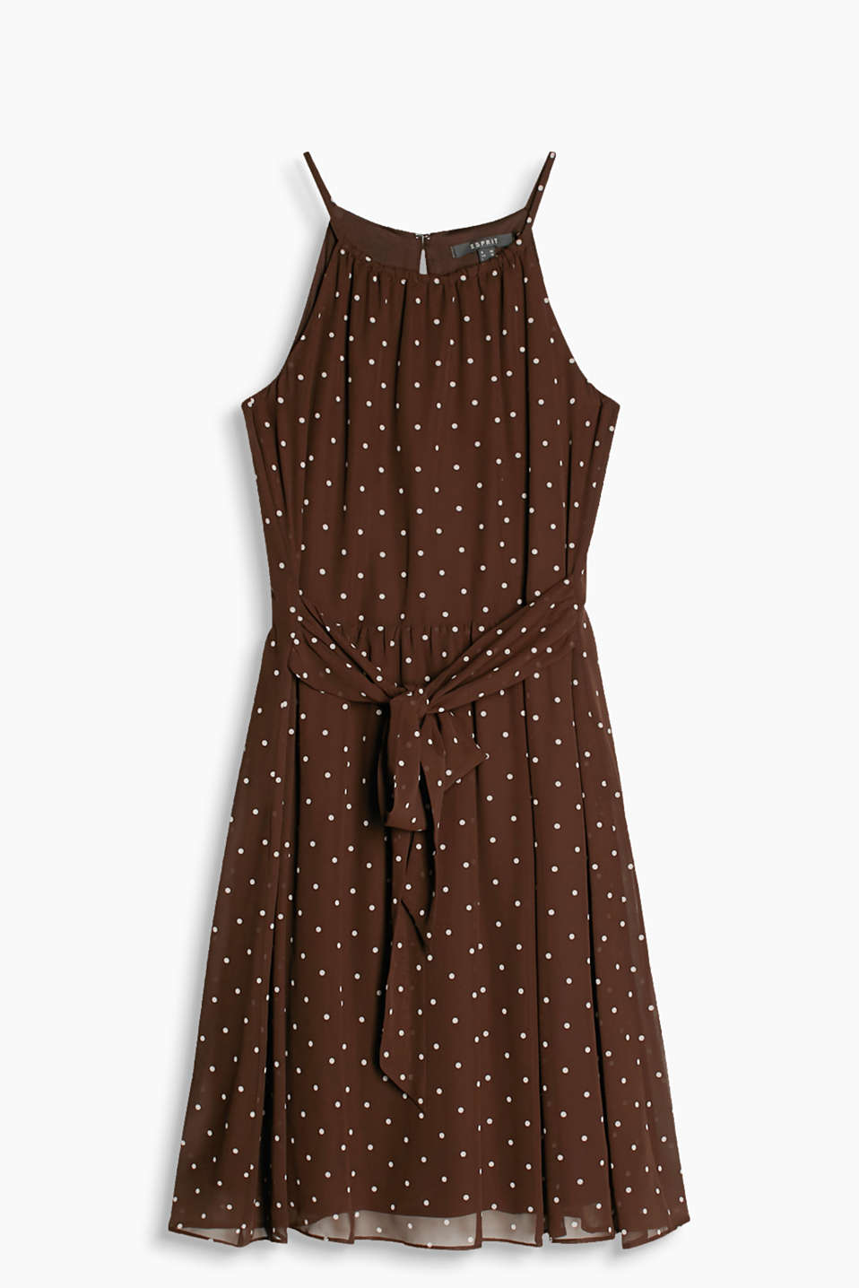Airy chiffon dress with a polka dot pattern, cut-away shoulders and a waist sash