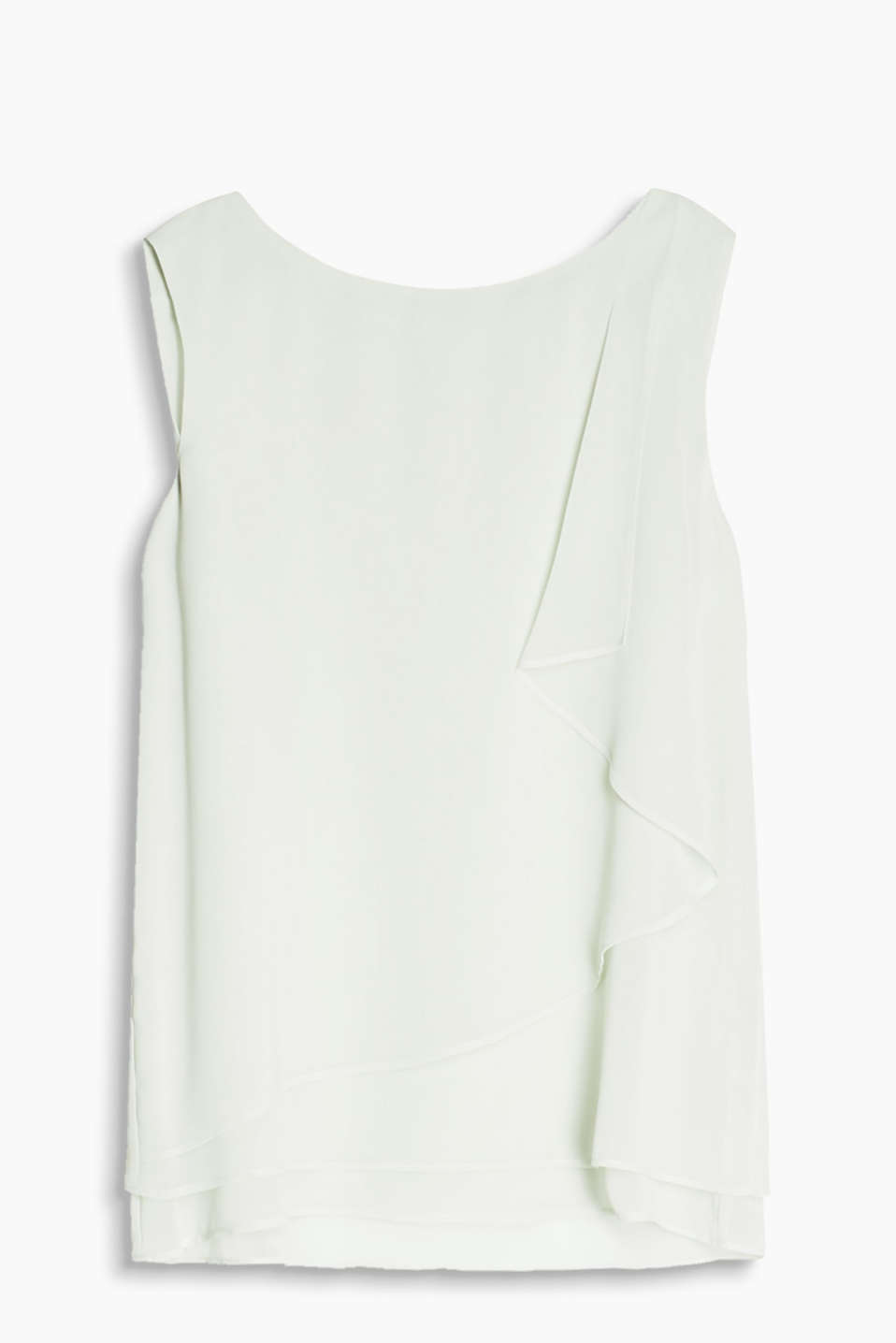 Layered, delicate chiffon top with a flirty frill