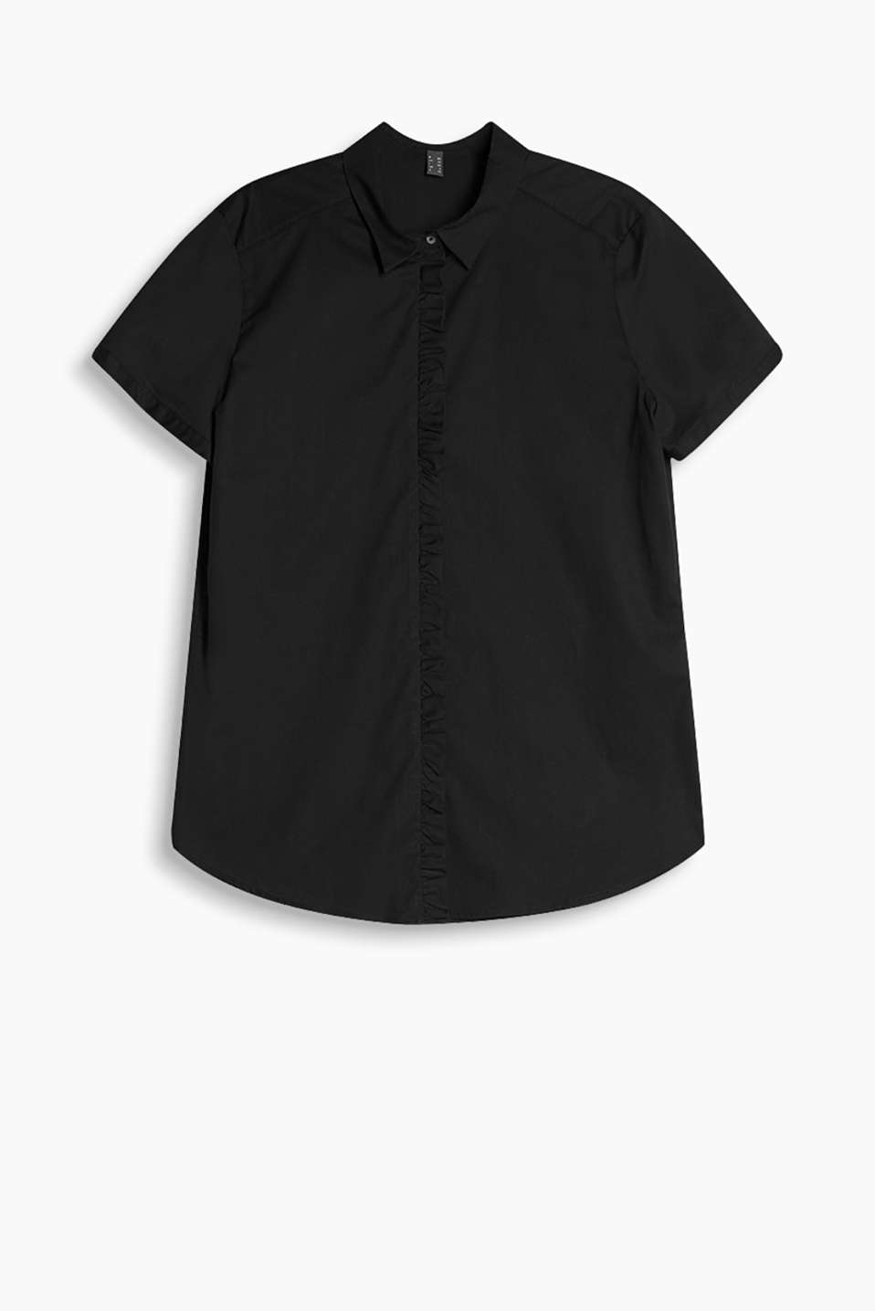 Pretty short sleeve blouse with a frilled trim in lightweight stretch cotton