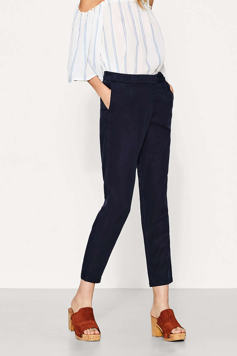Flowing trousers with a wrap-over effect