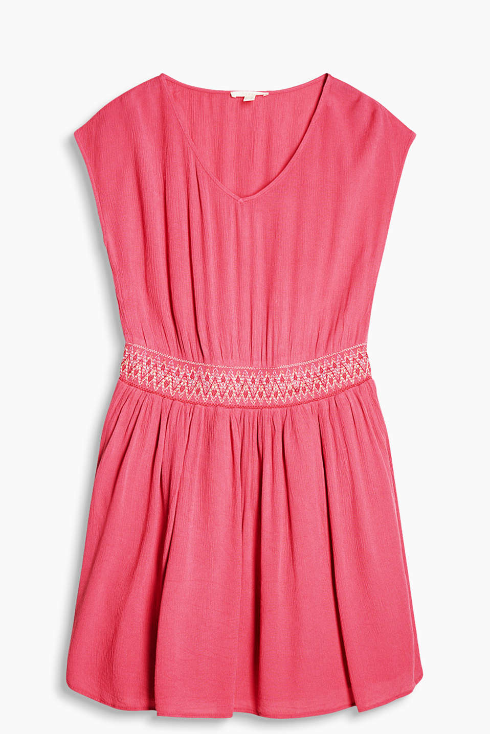 Airy crinkle dress with a bright embroidered waist and a V-neckline