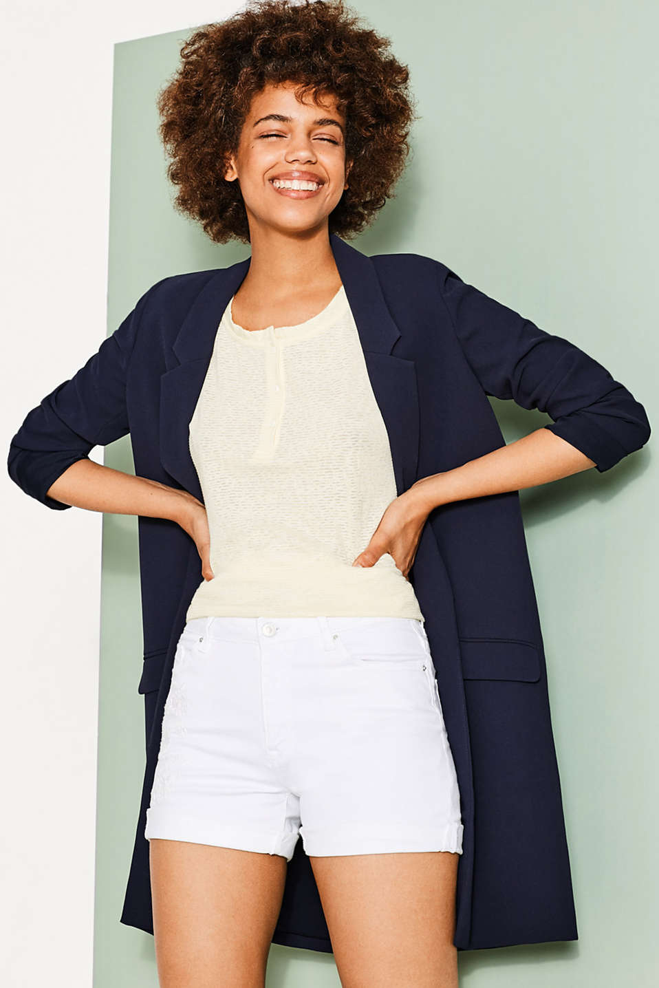 Esprit - Floaty boxy top with button placket